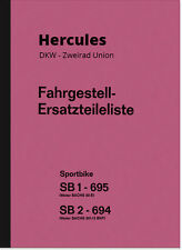 Hercules DKW Sportbike Ersatzteilliste SB1 SB2 Sachs 50S Ersatzteilkatalog SB 1