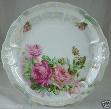 VINTAGE CAKE PLATE IRIDESCENT,EMBOSSED PINK ROSE FLOWER,GREEN LEAVES