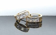 14K Solid Yellow Gold Small Square Princess Huggie Created Diamond Earrings