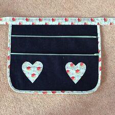 Boot Craft Fair Money Belt Cash Bag Market Trader  Denim Turquoise Rose Hearts