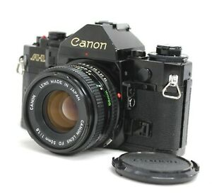 [Excellent Canon A-1 35mm SLR Black with New FD 50mm F1.8 Lens from Japan