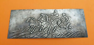 Antique Imperial Russian Silver Troika with Noble Man Racing Engraving Repousse