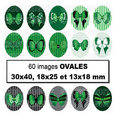 60 Images digitales cabochons noeuds papillons VERT 30X40 18x25 13x18 mm OVALE