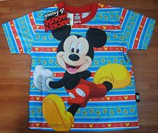 MICKEY MOUSE Boy Girl Kids Blue T Shirt Size L Age 6-8 Y New #40