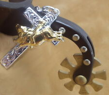 Bull Rider, Inspirational Cross, Sterling necklace Perfect gift for Rodeo lovers