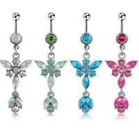 Belly Bars Drop Body Piercing Belly Button Ring Crystal Flower Dangly Navel Bar
