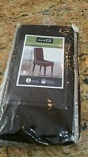 Sure Fit Monaco - Shorty Dining Room Chair Slipcover  - Chocolate/White