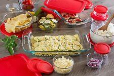 Pyrex 28PC Glass Bakeware & Food Storage Set Clear Lids Bowls Casseroles No BPA