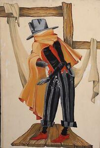 Vintage theatre phantom costume design gouache painting