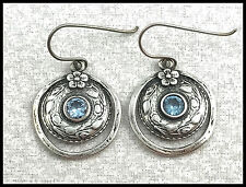 VINTAGE Didae .925 Sterling Silver & Topaz Multi Textured Wire Earrings, Israel