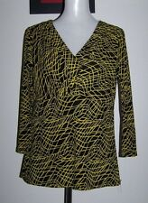quality MARCO POLO L (12-14) FITTED BLACK & YELLOW STRETCH MESH KNIT TOP