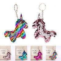 Colorful Glitter Paillette Unicorn Key Chain Keyring Handbag Phone Pendant Decor