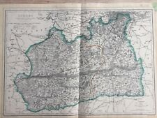 C1860 engraved map of Surrey / South London by Davies, with original hand colour