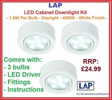 LAP- LED Under Cabinet Kitchen Cupboard Light Spots -White- Daylight SMD -3 Pack