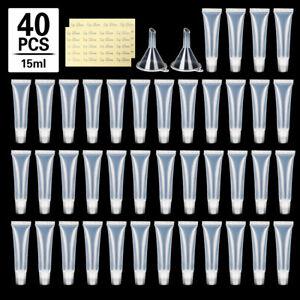40p 15ml Refillable Mini Clear Empty Lip Gloss Balm Container Soft Tube Cosmetic