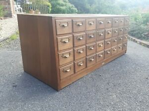 Vintage mid century oak library index card drawers cabinet 32 draws can deliver