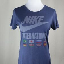 Womens L Nike Track & Field T Shirt Blue International Logo Gym Fitness Workout