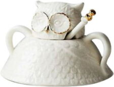 Anthropologie Balducci Wild Masquerade Owl Sugar Bowl Lid Spoon Handpainted NIB