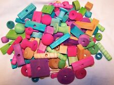 75 Assorted Bird Toy Parts Assortment Sm To Medium Parrots Colored Wood Parts