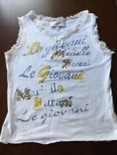 Girls Kids MARIELLA BURANI le giovani top shirt XL 8-9 yrs Cotton Italy White