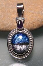 Sterling silver dichroic glass & amethyst hinged pendant. Gift Bag.