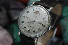 Vintage RECORD Geneve Datofix Triple Date Moonphase 34.5mm Dress Watch 4 Repair
