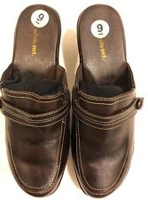 EUC White Mountain Women's 9W Brown Leather Heels Wedge Mules Clogs Shoes