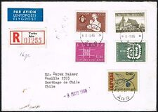 724 FINLAND TO CHILE REGISTERED AIR MAIL COVER 1966 TURKU - SANTIAGO
