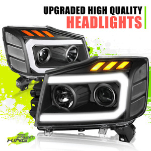 LED DRL Projector Headlight Lamps for Nissan Titan Armada 04-15 Black Clear L+R