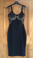 Miss Selfridge New Black Stud Embellished Bodycon Wiggle Party Dress Size 4 6 8