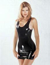 SHARON SLOANE Latex Mini Dress Sexy Rubber Black Shiny Wet Look Lingerie PVC UK