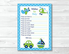 Car Truck Boat Plane Printable Baby Shower Wishes for Baby Advice Cards