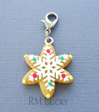ONE Christmas Snowflake Cookie Clip On Charm Dangle Fits floating locket C123