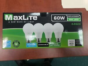 4 pack New 60 Watt Equivalent  A19 LED Light Bulb Dimmable Daylight 5000k!!!!