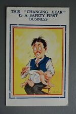 R&L Postcard: Comic, Man Changing Nappy Diper, Safety First