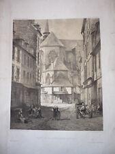 GRANDE GRAVURE CHEVET DE LA CATHEDRALE DE ST BRIEUC BRETAGNE 19eme SIECLE