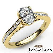 Oval Diamond Engagement Bezel Channel Set Ring GIA E VS1 18k Yellow Gold 0.80Ct