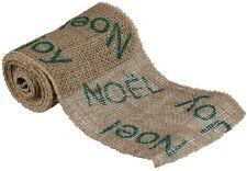 "NWT 6"" x 10 foot GREEN Printed JOY NOEL Burlap Ribbon Christmas Garland Roll"