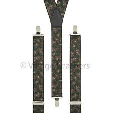 Paisley Green Trouser Braces Elastic Suspenders Handmade in England