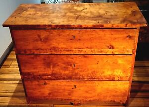 A Stunning 18th - 19th Century Solid Cherry Wood Three Drawer Commode
