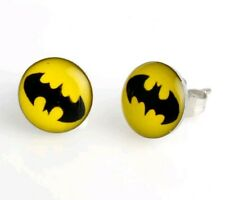 BATMAN YELLOW AND BLACK, SILVER PLATED STUD EARRINGS BRAND NEW BAT MAN 022