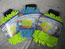 3 Stück Mikrofaser Chenille Putzhandschuh 2in1 Autopflege Reinigung Handschuhe