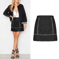 UK Women Midi Flare A Line Skirt Black High Waist Contrast Piping Short 6-14