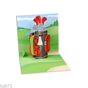 Golf Bag Up Greeting Card Up With Paper #PS 880 Father's Day & More Options