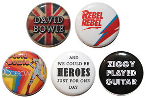 """1"""" (25mm) David Bowie 5 Button Badge Pin Set - Music & Gift - MADE IN UK"""