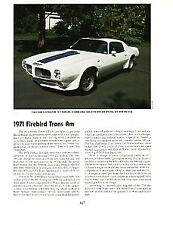 1971 Pontiac Firebird Trans Am Article - Must See !!