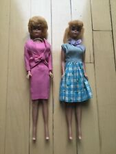 1960s HTF vintage Barbie dolls, bubblecut and ponytail blonde case and clothes