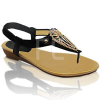 NEW WOMENS LOW WEDGE HEEL THONG TOE POST SLING BACK SUMMER SANDALS SHOES SIZE