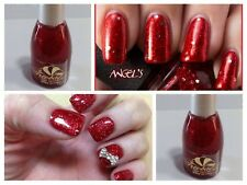 Smalto Unghia Nail Polish Nail Art Rosso Glitterato Brillante Professional Nuovo