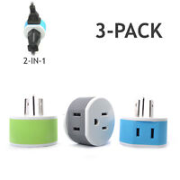 OREI Australia, New Zealand, China Travel Plug Adapter 2 USA Input 3 Pack Type I